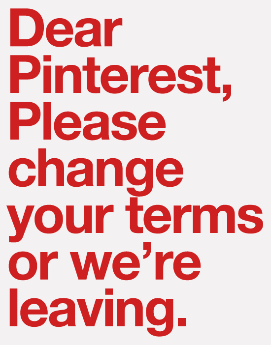 Pinterest: Change Your Terms or We're Leaving